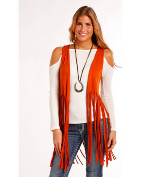 Panhandle Women's Solid Fringe Hem Vest , Red, hi-res