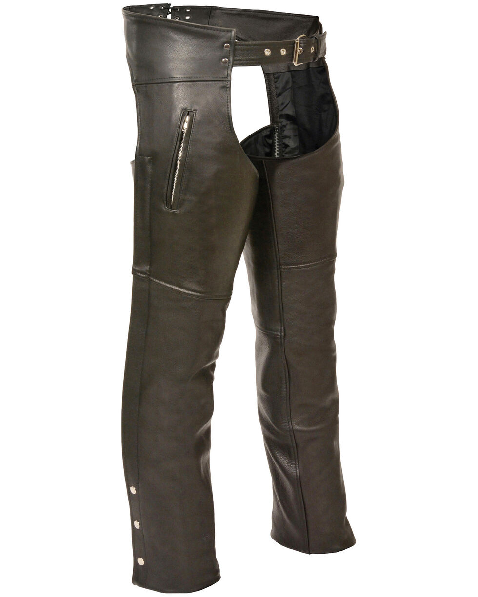 Milwaukee Leather Men's Black Zippered Thigh Pocket Chaps - 4X, Black, hi-res