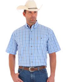Wrangler George Strait Men's Short Sleeve Plaid One Pocket Button Shirt, , hi-res