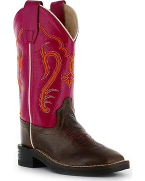 Cody James® Youth Broad Square Toe Western Boots, Brown/pink, hi-res