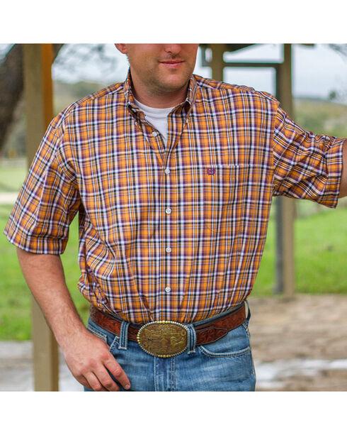 Cinch Men's Orange Classic Fit Plaid Short Sleeve Shirt , Orange, hi-res