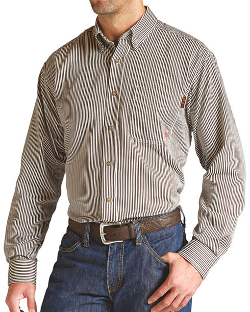 Ariat Men's Long Sleeve FR Work Shirt, Brown, hi-res