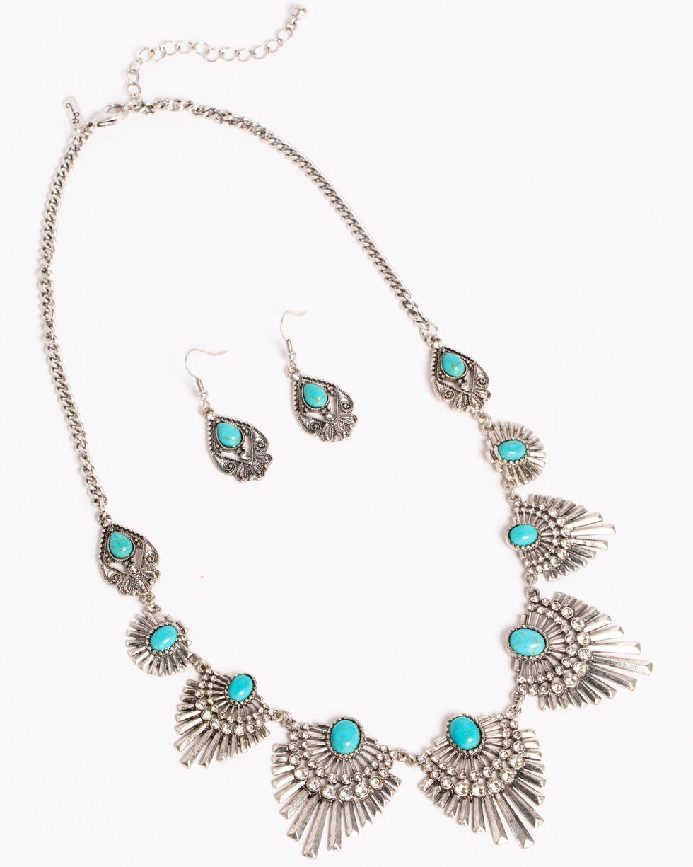 Shyanne Women's Deco Style Jewelry Set, Silver, hi-res