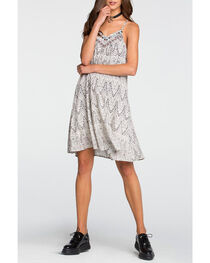 Miss Me Women's White Printed Camisole Swing Dress , , hi-res