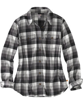 Carhartt Women's Plaid Long Sleeve Shirt, Black, hi-res