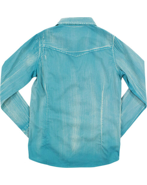 Shyanne Girls' Solid Snap with Embroidery Long Sleeve , Teal, hi-res