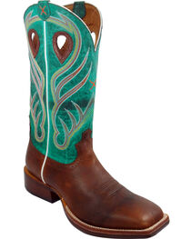 Twisted X Saddle Brown and Green Ruff Stock Cowboy Boots - Square Toe, , hi-res