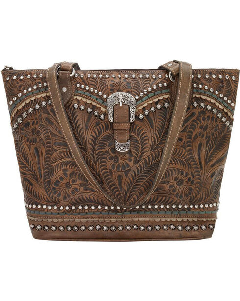 American West Women's Distressed Brown Blue Ridge Zip Top Tote , Distressed Brown, hi-res