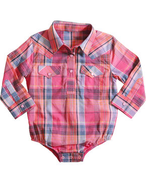 Wrangler Infant Girls' Pink Plaid Western Onesie , Pink, hi-res