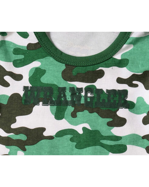 Wrangler Infant Boys' Long Sleeve Green Camo Bodysuit, Green, hi-res