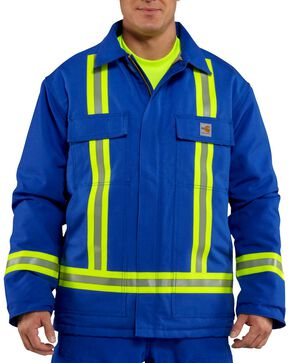 Carhartt Men's FR Traditional Quilt Lined Reflective Coat, Royal, hi-res