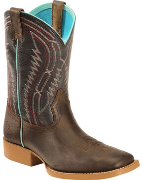 Ariat Kid's Brown Chute Boss Boots - Wide Square Toe, Brown, hi-res