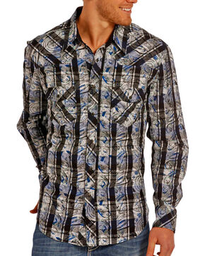 Rock & Roll Cowboy Men's Abstract Patterned Long Sleeve Shirt, Black, hi-res