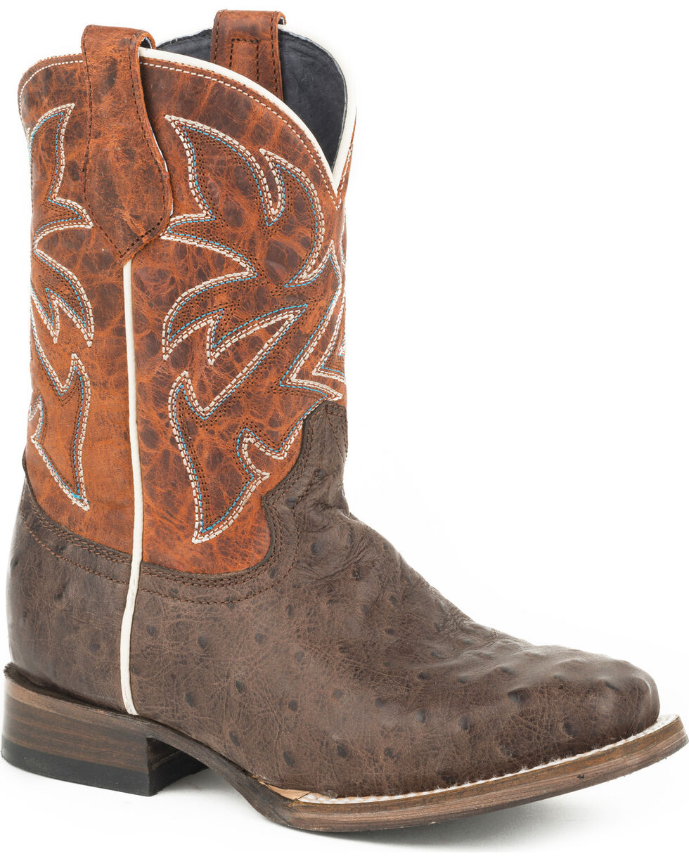 Roper Boys' Buddy Embossed Ostrich Cowboy Boots - Square Toe, , hi-res