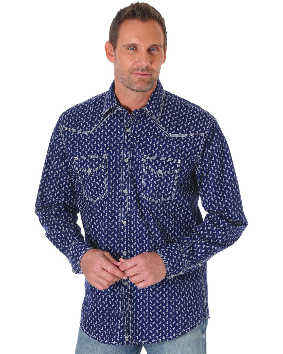 Wrangler Men's Navy 20X Competition Advanced Comfort Print Shirt , Navy, hi-res