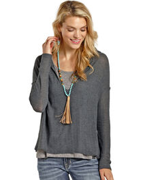 Rock & Roll Cowgirl Women's Grey Crochet Back Hoodie , , hi-res