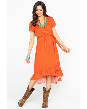 Polagram Women's Polka Dot Dress, Orange, hi-res