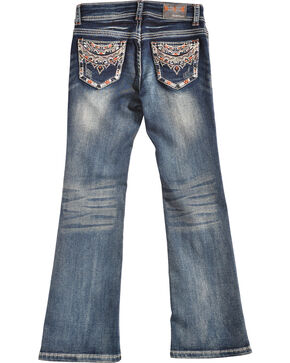 Grace in LA Girls' Medium Wash Stitch Pocket Bootcut Jeans , Denim, hi-res