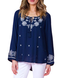 Miss Me Women's Embroidered Long Sleeve Peasant Top, , hi-res
