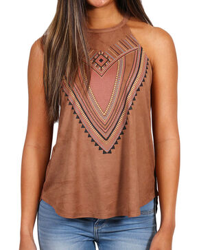 Shyanne® Women's Sleeveless Printed Tank, Brown, hi-res