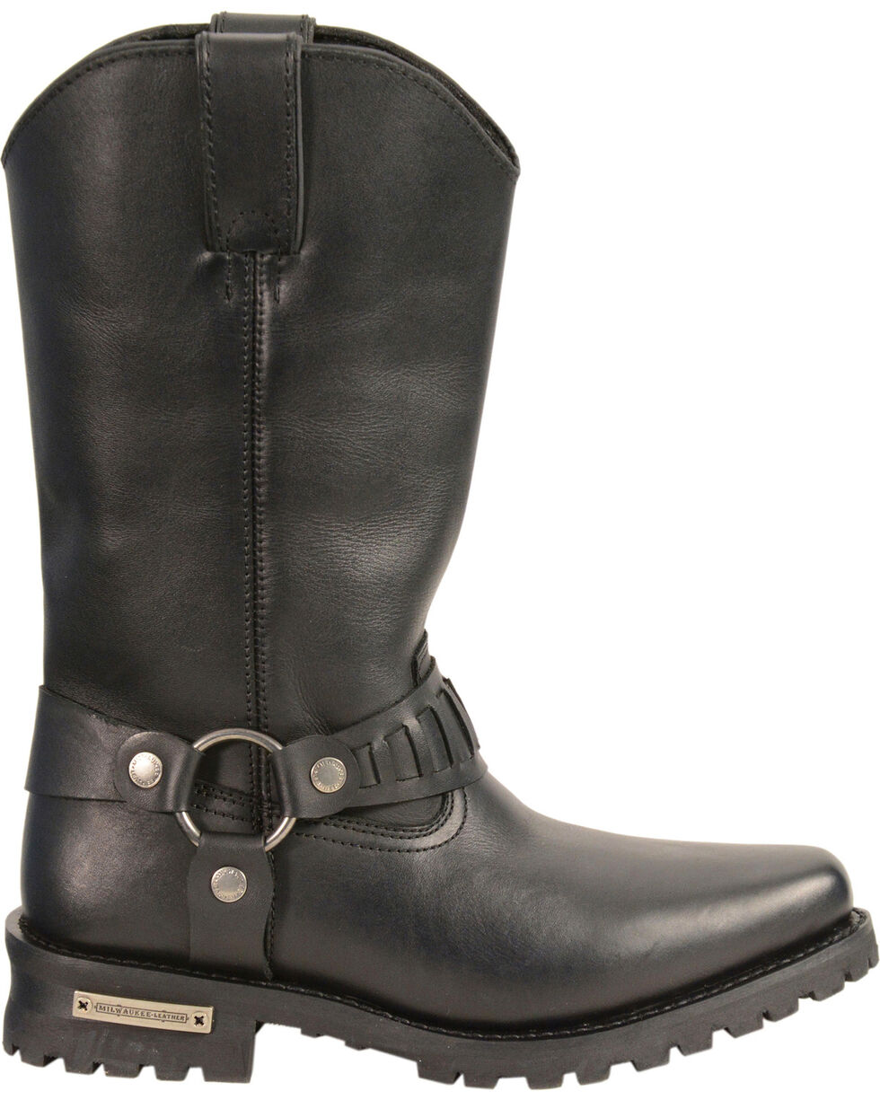 """Milwaukee Leather Men's 11"""" Western Style Harness Boots - Square Toe, Black, hi-res"""