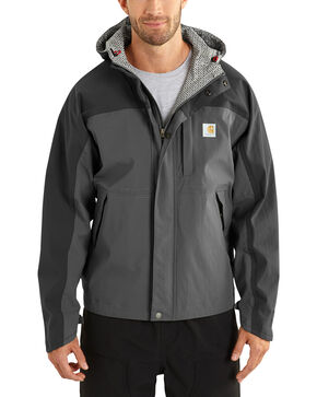 Carhartt Men's Grey Shoreline Vapor Waterproof Jacket, Charcoal Grey, hi-res