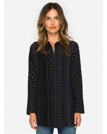 Johnny Was Women's Black Patule Button Down Shirt , , hi-res