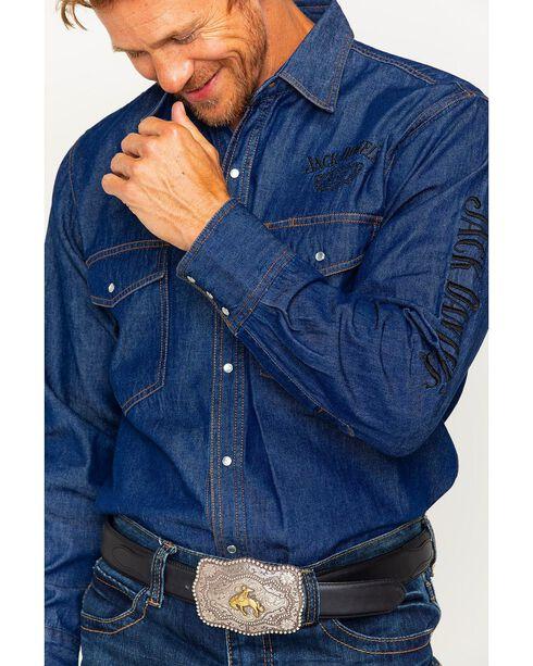 Jack Daniel's Men's Embroidered Long Sleeve Shirt, Blue, hi-res