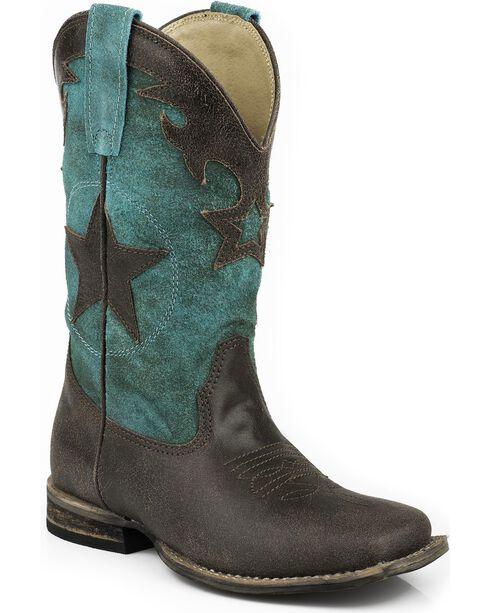 Roper Boys' Star Cowboy Boots - Square Toe, Dark Brown, hi-res