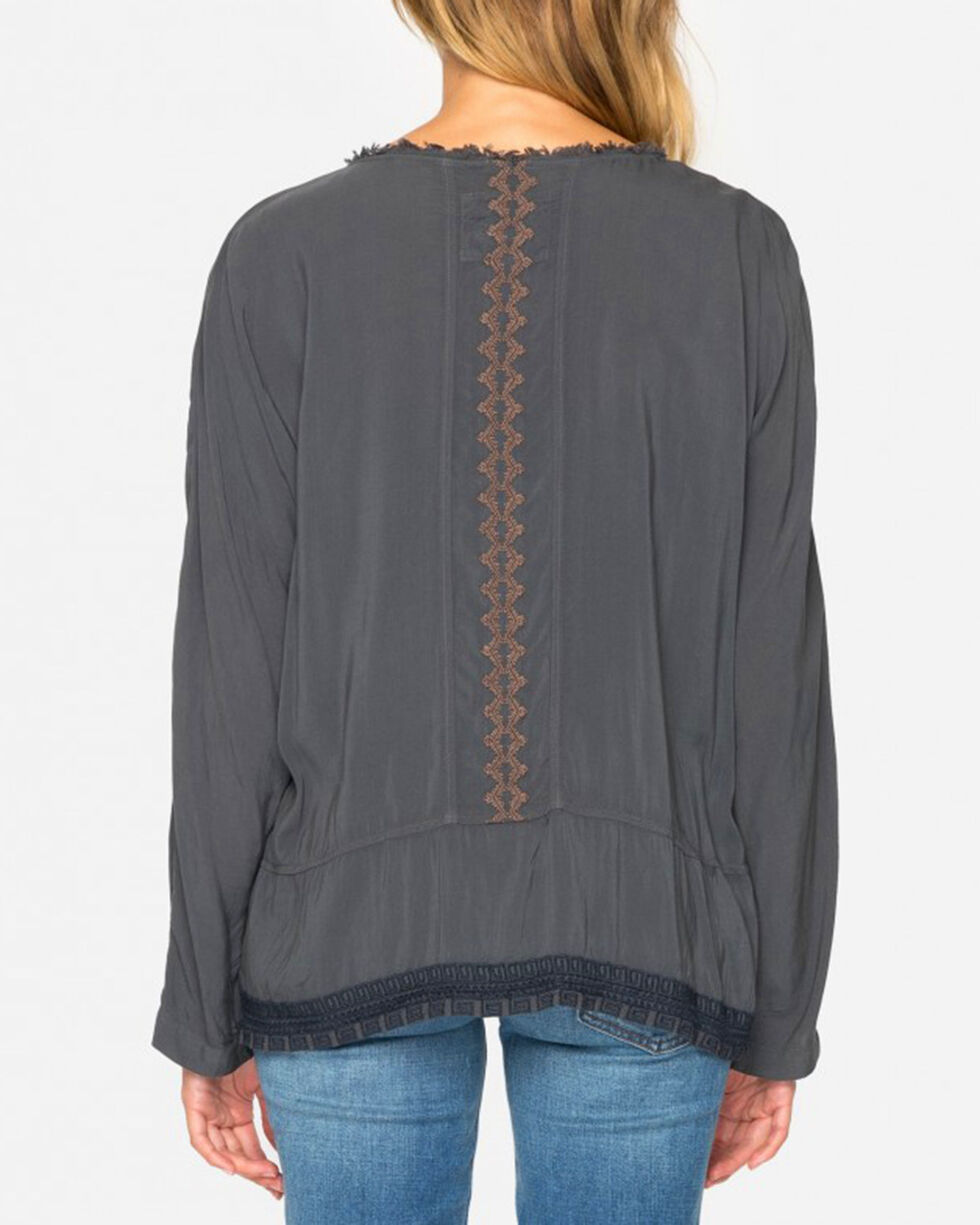 Johnny Was Women's Effie Challis Blouse, Grey, hi-res