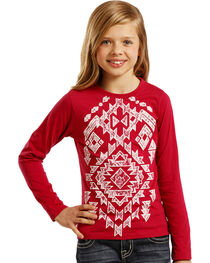 Rock & Roll Cowgirl Girls' Aztec Lace Tee, , hi-res