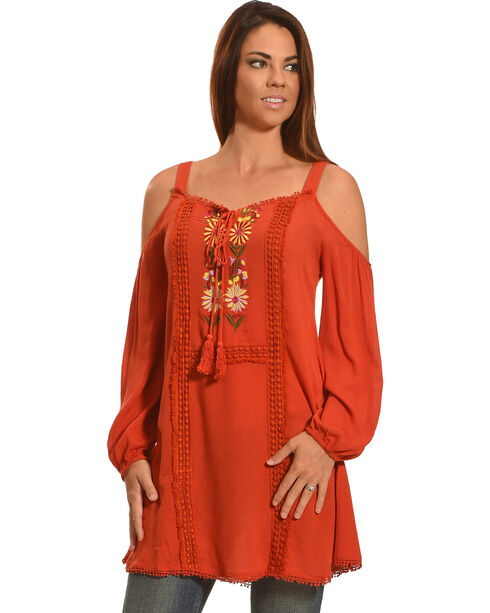 Young Essence Women's Cold Shoulder Embroidered Top, Orange, hi-res