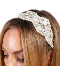 Shyanne® Women's Lace and Pearls Crochet Headband, , hi-res
