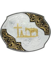 Montana Silversmiths Men's Lace Scroll Christian Cowboy Belt Buckle, , hi-res