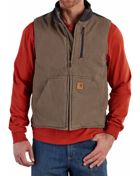 Carhartt Men's Sandstone Mock-Neck Vest, Brown, hi-res