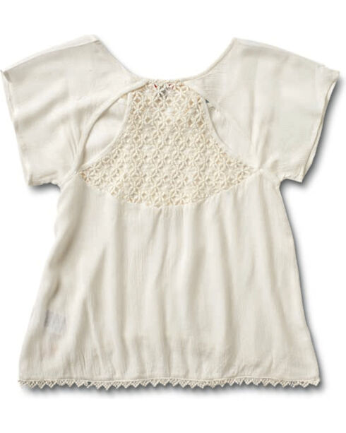 Silver Girls' Crochet Lace Top, Cream, hi-res