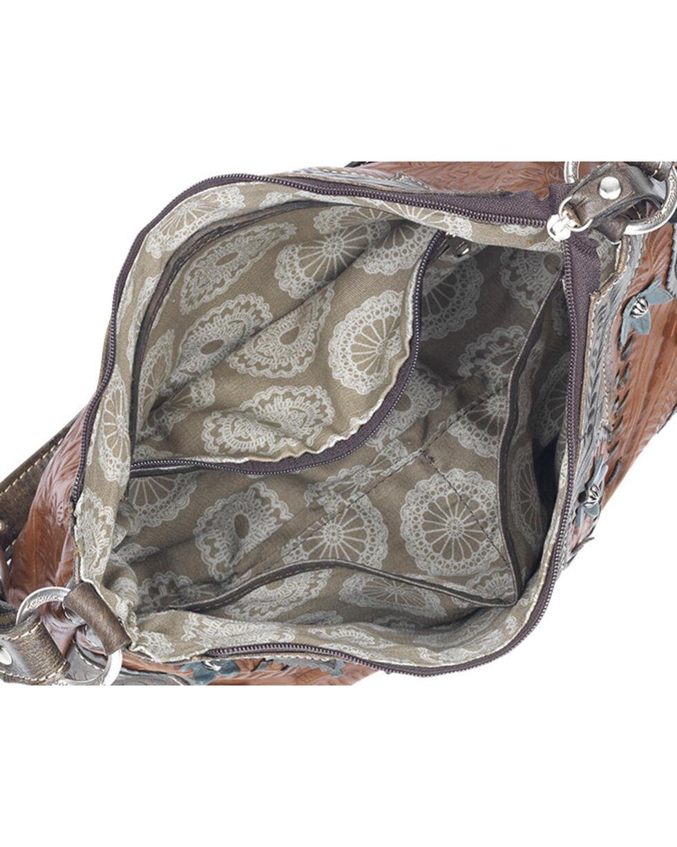 American West Women's Desert Wildflower Zip-Top Shoulder Bag, Tan, hi-res