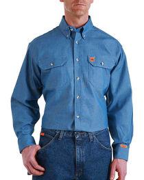 Wrangler Men's Flame Resistant Long Sleeve Work Shirt, , hi-res