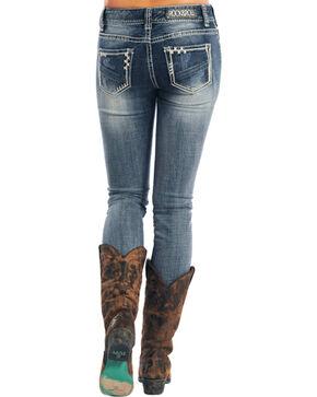 Rock & Roll Cowgirl Women's Indigo Mid-Rise X Stitching Jeans - Skinny , Indigo, hi-res