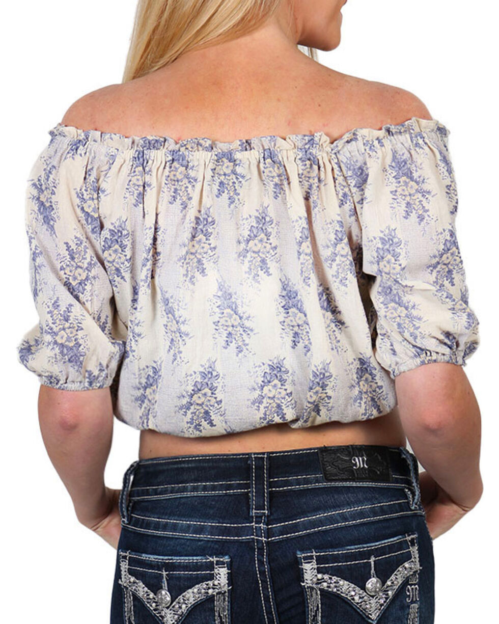 Angie Women's Floral Printed Lace-Up Front Shirt, Natural, hi-res