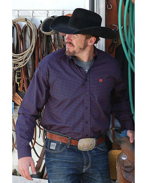 Cinch Men's Navy Classic Square Print Shirt , Navy, hi-res