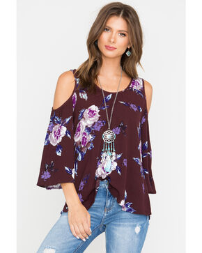 Shyanne Women's Floral Cold Shoulder Top, Burgundy, hi-res