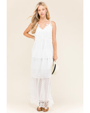 Polagram Women's White V-Neck Lace Trim Dress , White, hi-res
