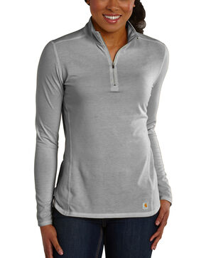 Carhartt Women's Force Performance Quarter-Zip Shirt, Grey, hi-res