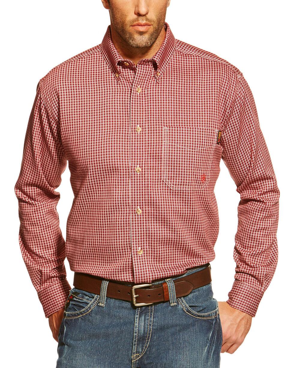 Ariat Men's Flame Resistant Checkered Work Shirt, Wine, hi-res