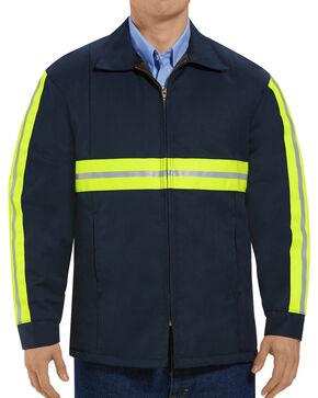 Red Kap Men's Enhanced Visibility Perma-Lined Flannel Jacket , Navy, hi-res