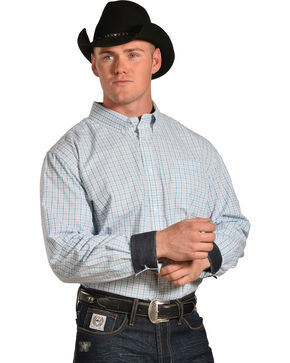 Cody James Men's Hawk Plaid Long Sleeve Button Down Shirt - 4X, White, hi-res