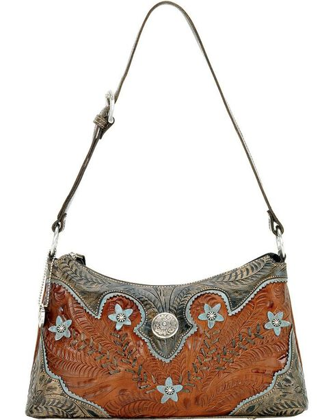American West Women's Desert Wildflower Shoulder Bag, Brown, hi-res