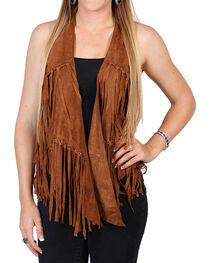 Vocal Women's Camel Faux Suede Fringe Vest, , hi-res