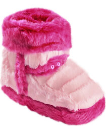Blazin Roxx Infant Girls' Star Pink Plush Bootie Slippers, , hi-res